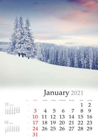 Photo pour Calendar January 2021, vertical B3 size. Set of calendars with amazing landscapes. Dramatic winter view of mountain valley. Nice sunrise in Carpathian mountains, Ukraine, Europe. - image libre de droit