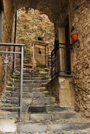 A backstreet in historic medieval Triora, Liguria – a town historically associated with witches