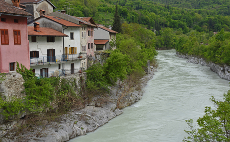 The waterfront houses in the small western Slovenian town of Kanal. The Soca river was unusally full at the time the photograph was taken.