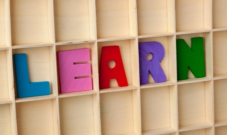 Wooden letter blocks forming the word LEARN
