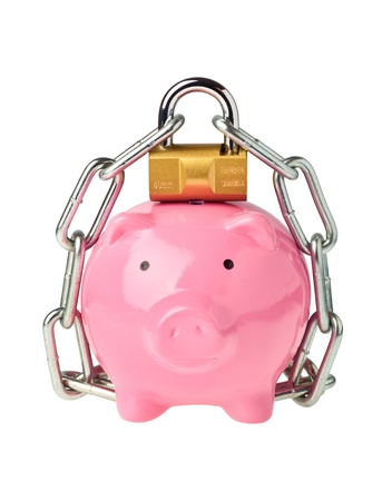 Piggy bank with lock and chain isolated on white background