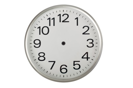 Clock face without the hands isolated on white background