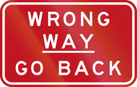 Australian traffic sign: Wrong Way - Go Back