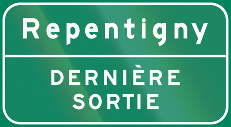 Guide and information road sign in Quebec, Canada - Exit sign repentigny. Derniere sortie means last exit.