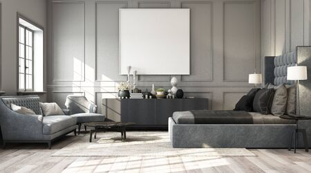 Photo pour Modern classic bedroom with wall decorate by classic element and furniture grey tone and frame artwork. 3d render - image libre de droit