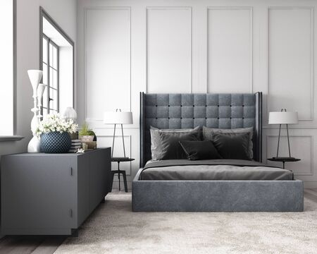 Photo pour Modern classic bedroom with wall decorate by classic element and furniture grey tone. 3d render - image libre de droit