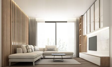Photo pour Living room modern minimal style with built-in wall decorate and tv cabinet with wooden and white marble and sofa set. 3d rendering - image libre de droit