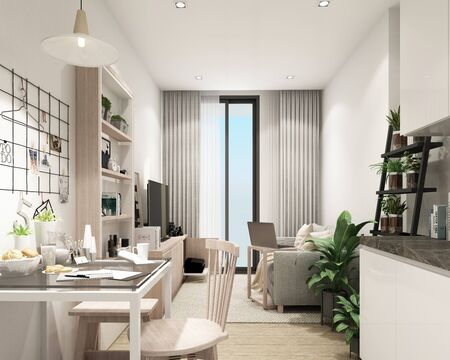 Photo pour modern living room in condominium with modern contemporary style interior and wooder floor with furniture built in 3d rendering - image libre de droit