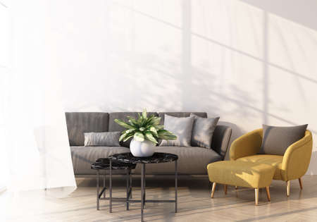 Photo pour grey sofa and yellow armchair bed on wooden floor Light shines through the window and shadows fall on it. with white wall and sheer 3d rendering - image libre de droit