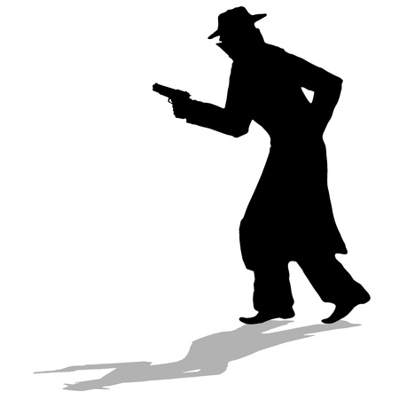 detective - black silhouette of man with gun