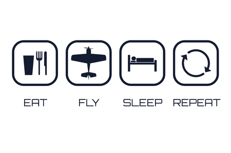 Eat Fly Sleep Repeat Icons on white background.