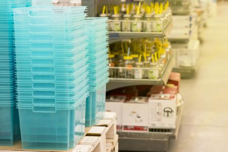 A hardware store. Boxes, jars, tubes, boxes, pallets.