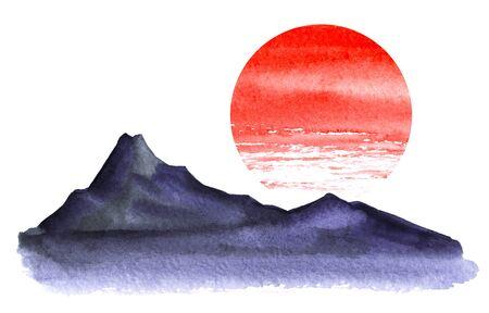 Foto de Minimalistic landscape. Dark silhouette of high mountains. Bright red circle of the sun. Watercolor illustration hand-drawn on a white background. - Imagen libre de derechos