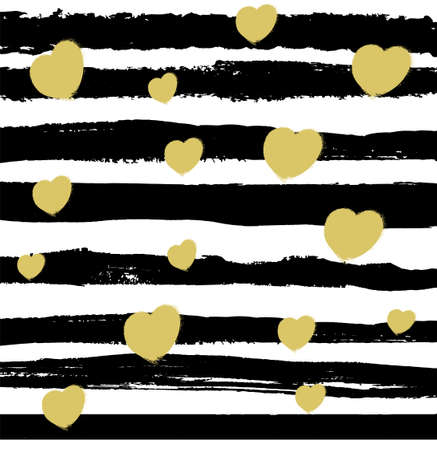 Ilustración de Pattern with black lines and beige hearts on white background. Modern illustration - Imagen libre de derechos