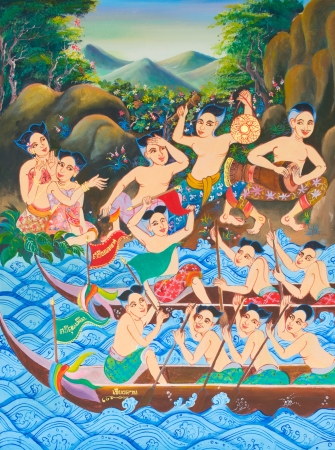 Long boat racing painting on wall in temple