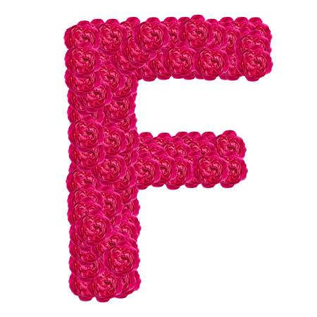 Letter F alphabet with damask rose  ABC concept type as logo isolated on white background