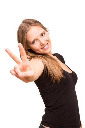 Beautiful woman showing peace or victory sign