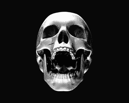 Illustration pour Engraving monochrome front view skull illustration screaming on dark background - image libre de droit