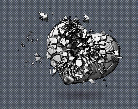 Ilustración de Monochrome broken heart symbol with pen and ink drawing style on polka dot pop art background - Imagen libre de derechos