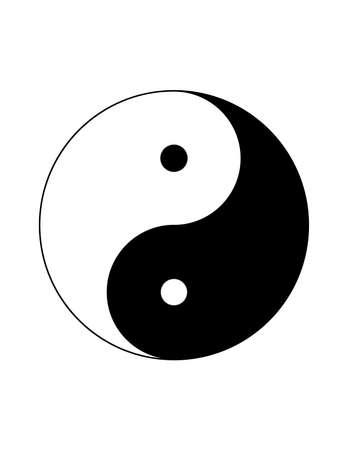Ilustración de Monochrome black and white Yin Yang chinese symbol isolated on white background - Imagen libre de derechos