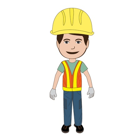 illustration of a construction worker wearing his safety hat and vest