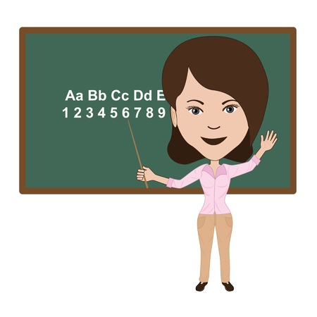 illustration of attractive teacher giving lecture in a classroom.
