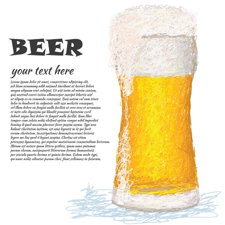 closeup illustration of a glass of cold beer with copyspace.