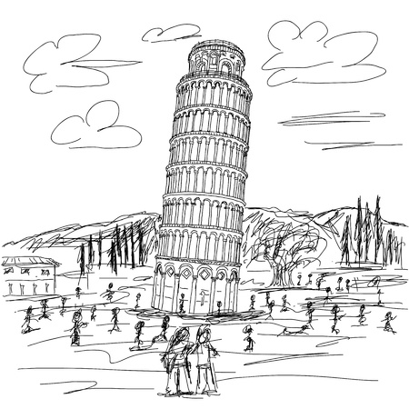 hand drawn illustration of famous tourist destination leaning tower of pisa Italy.