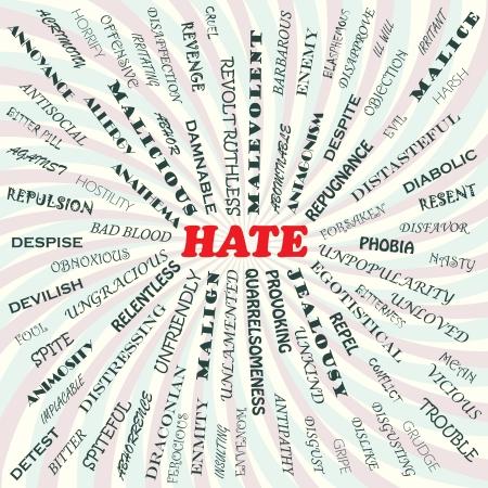 Illustration pour illustration of hate concept    - image libre de droit