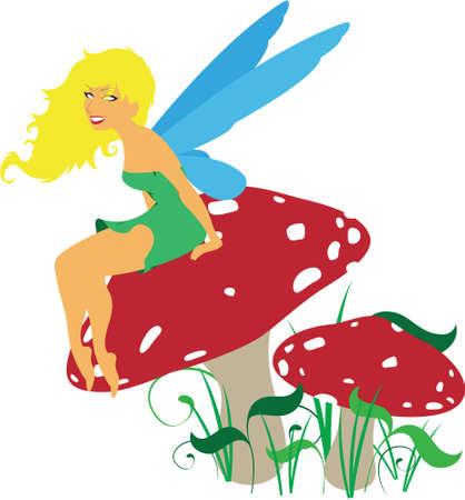 Vector forest fairy sitting on a mushroom toadstool scene
