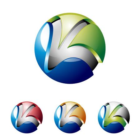 Illustration pour K Letter Initial 3D Shiny Ball Technology Internet Logo - image libre de droit