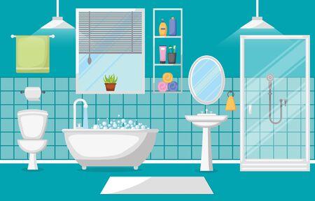 Illustration for Bathroom Interior Clean Modern Room Furniture Flat Design - Royalty Free Image