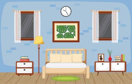 Illustration for Bedroom Interior Sleeping Room Flat Design Illustration - Royalty Free Image