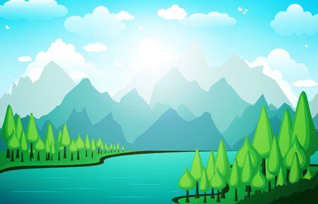 Illustration pour Mountains Hills Lake Green Nature Landscape Sky - image libre de droit