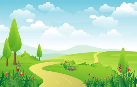 Illustration for Mountains Hills Green Grass Nature Landscape Sky - Royalty Free Image