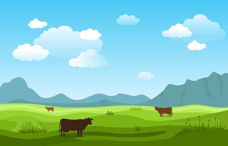Illustration pour Mountains Hills Green Grass Nature Landscape Sky - image libre de droit