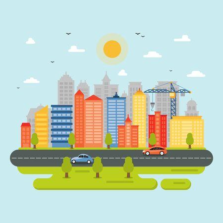 Illustration pour City Cityscape Skyline Landmark Building Traffic Street Illustration - image libre de droit