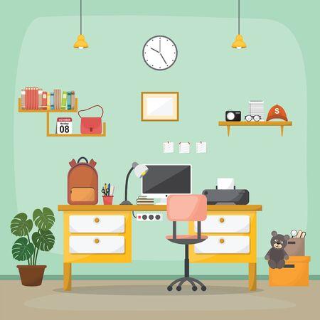 Illustration for Student Children Study Desk Table Interior Room Furniture Flat Design - Royalty Free Image