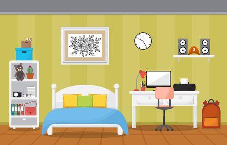 Illustration for Student Study Desk Table Bedroom Interior Room Furniture Flat Design - Royalty Free Image