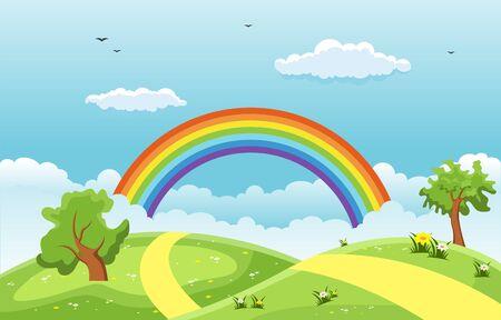 Illustration pour Summer Spring Green Valley Rainbow Outdoor Landscape Illustration - image libre de droit