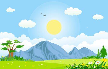 Photo pour Summer Spring Green Valley Bright Sun Outdoor Landscape Illustration - image libre de droit