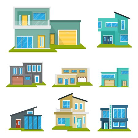 Photo pour Modern House Home Real Estate Icon Symbol Flat Color Element - image libre de droit