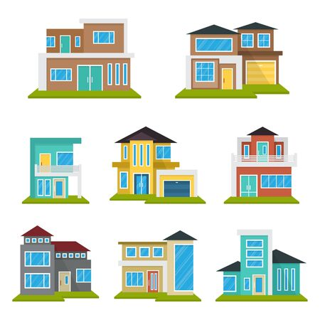 Illustration for Modern House Home Real Estate Icon Symbol Flat Color Element - Royalty Free Image