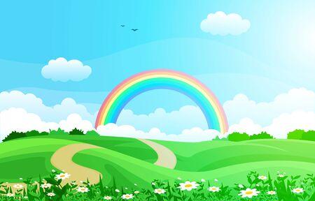 Illustration pour Beautiful Rainbow Sky with Green Meadow Mountain Nature Landscape Illustration - image libre de droit