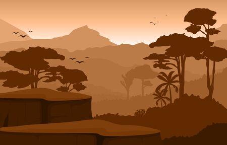 Illustration pour Calm Mountain Forest Wild Nature Scene Landscape Monochrome Illustration - image libre de droit