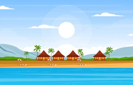 Illustration for Vacation in Tropical Beach Sea Palm Tree Summer Landscape Illustration - Royalty Free Image