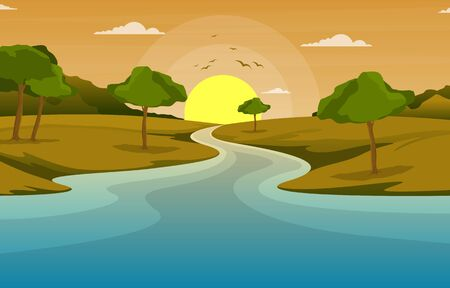 Illustration pour River Morning Sunrise Afternoon Sunset Mountain Forest Rural Landscape Illustration - image libre de droit