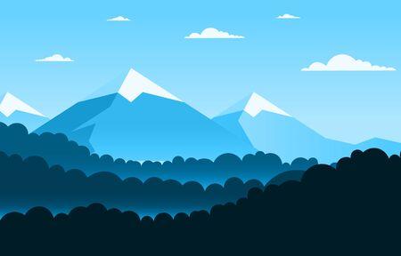 Illustration pour Simple Calm Mountain Forest Wild Nature Scene Landscape Monochrome Illustration - image libre de droit
