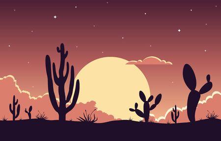 Illustration pour Day in Vast Western American Desert with Cactus Horizon Landscape Illustration - image libre de droit