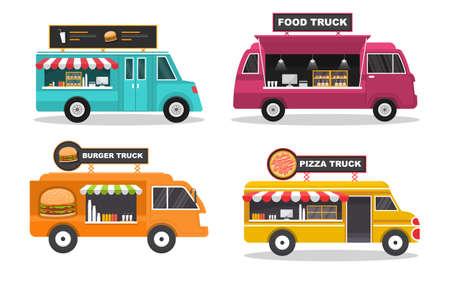 Illustration pour Food Truck Van Car Vehicle Transportation Street Shop Set - image libre de droit